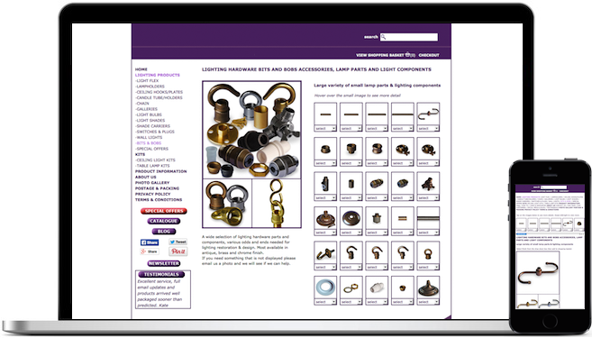 ECommerce Website for Lighting Hardware