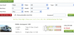 Custom Search Engine for Motorhome Dealer