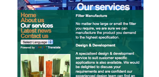 Website Development for Filter Business