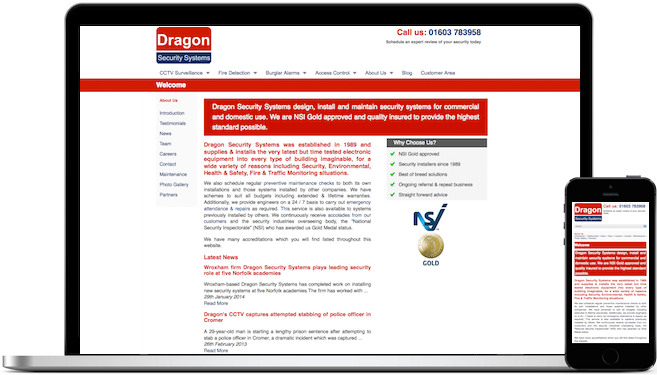 Dragon Security Systems Web Design
